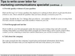 Communications Specialist Cover Letter Communications Cover Letter Quick Cover Letter Marketing