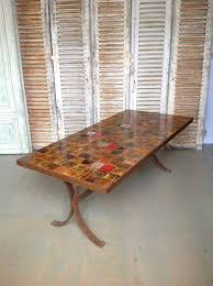 ... Dining Tables, Captivating Brown Rectangle Unique Wooden Tile Top  Dining Table Stained Ideas: Interesting ...