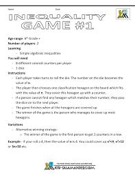 algebra maths inequality game 1 inequality game 1 instructions