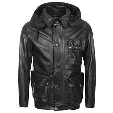 cp company goggle hood leather jacket black