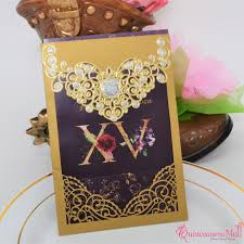 Quincenera Invitations Xv Años Gold With Purple Laser Cut Quinceanera Invitation Pcw76dx C32