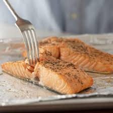 cooked salmon color. Unique Salmon Testing Fish With A Fork For Cooked Salmon Color