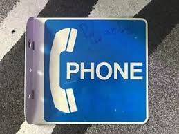 Vintage Pay Phone Booth 2 Sided 90 Degree Sign W Metal Bracket Blue