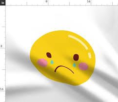 Fabric By The Yard Cheeky Emoji Faces Sad Crying Tears