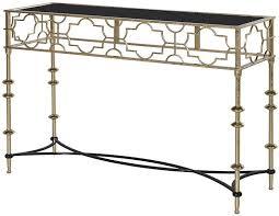 black and gold quatrefoil console table
