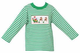 Anavini Baby Toddler Boys Green Striped Knit Smocked Santa