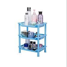 Apex Plastic Multipurpose Space Saving Corner Standing Storage Rack For Kitchen Random Color