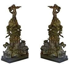large bronze antique fireplace andirons for