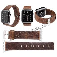whole crazy horse leather replacement wrist strap for apple watch band 38mm 42mm series 3