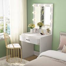 Details About Vanity Set With 10 Warm Lighted Mirror Makeup Dressing Table Dresser Desk White