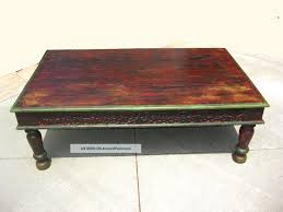 antique rustic artisan indian hard wood brown distressed coffee table