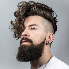 long curly hair undercut braidbarbers and long curly hairstyle for men undercut