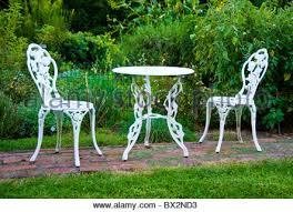 white iron garden furniture. Backyard Garden Furniture Cast Iron Painted White From Middle Of 19th Century - Stock Photo U