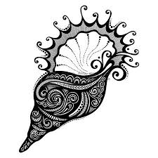 Seashell Design Vector Abstract Sea Shell Patterned Design Transfer Art Tattoos