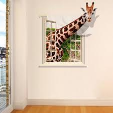 Giraffe Bathroom Decor 3d Lovely Giraffe Wall Sticker Decal Animal Wallpaper Living Room