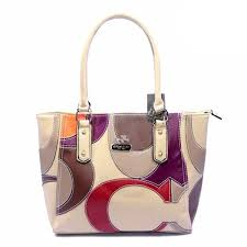 Coach Big Logo Medium Ivory Satchels DYB Outlet Sale