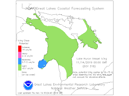 Ice Depth Safety Chart Lake Huron Weather Lake Huron Ice Data