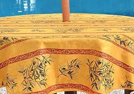 tablecloths umbrella hole round tablecloth 60 inches provence coated olives branches in gold water and stain resistant great for outdoor use