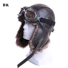 winter er hats plush earflap russian ushanka with goggles men women s trapper aviator pilot hat faux leather fur snow caps d19011503