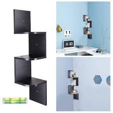 3 tiers wall mount corner shelf wood storage organizer w granter home black white