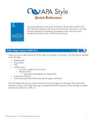 Apa 6th Edition Quick Reference Guide Version 2