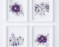 set of 4 printables gray wall art purple wall art silver florals gray florals purple flowers purple floral purple wall decor fs01 on lavender colored wall art with purple wall art etsy