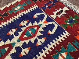kilim rug 747 navy blue and red vintage turkish kilim rug