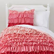 Girls Bedding: Pink Ombre Ruffled Bedding Set - Twin Fade to Pink Duvet  Cover