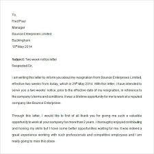 Writing Two Weeks Notice Sample 2 Weeks Notice 6 Download In Word Pdf