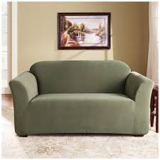 sure fit stretch loveseat slipcover with dark green color in the living room with flower pattern carpet tiles ideas