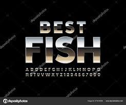 Best Font For Banner Design Vector Bright Banner Best Fish Uppercase Silver Font