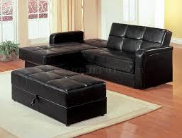 black vinyl modern small sectional sofa