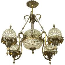 Antique French Light Fixtures Crystal Basket Style Vintage French Chandelier 4 Arm Ceiling