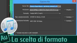 Formato Au 12 Videocorso Adobe Audition Cc Lezione 12 La Scelta Del Formato