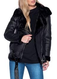 new womens faux leather aviator belt faux fur lined shearling las jacket coat