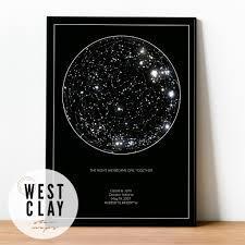 Star Chart Poster Custom Personalized Star Chart The Minimalist