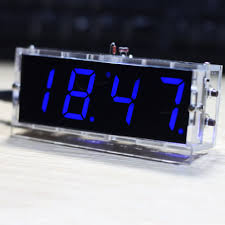 compact 4 digit diy digital led clock kit light control temperature date time display with transpa case