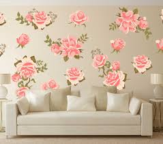 pink rose flower wall decal set pretty pink graphic flower wall decal set wall