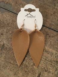 lia leaf leather earring