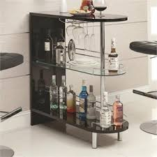contemporary bar furniture. Coaster Contemporary Home Bar Table With Glass Shelf In Black Furniture