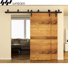 winsoon 5 16ft bypass sliding barn door hardware double track kit bent new barn door
