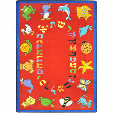 abc animals hebrew alphabet kids rug in red 10 9 x 13 2 joy carpets 1566g 02