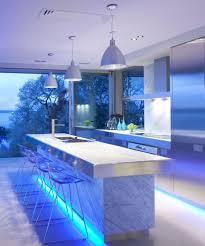 Blue Kitchen Decor Accessories Stunning Kitchen Lighting Ideas With Wavy Stainless Steel Track