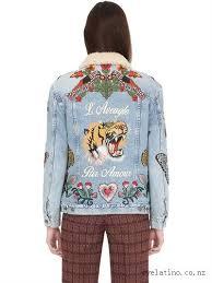 gucci jacket womens. gucci embroidered denim \u0026 shearling jacket blue - women womens x