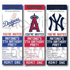 Party Ticket Invitations Fascinating Baseball Ticket Stub Digital Invitation Any Team By Lucyinvites