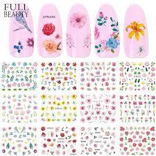 12pcs nail art slider nail sticker set blooming flower bird sakura leaf water decals decorations diy