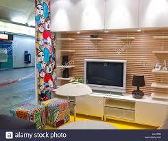 Paris, France, Unusual Advertising Furniture Shopping, Ikea Furniture Store,  Apartment Installation, in Paris Metro, Auber Station.