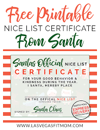 Collection of free certificate templates in ms word and pdf formats. Santa S Nice List Free Printable Las Vegas Fit Mom
