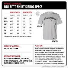 Body Length Size Chart Ironville Size Charts Dri Fit T Shirts Powerlifting