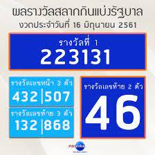 ผลรางวัลสลากกินแบ่งรัฐบาล งวดประจำวันที่ 16 มิถุนายน 2561 - สำนักข่าวไทย  อสมท